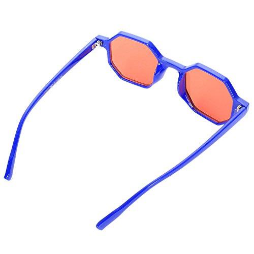 lujo Retro de Sol Poligonales Negras Senoras Pequenas Sol Azul Sol Gafas de de Sunglass Gafas de Vintage Mujeres TOOGOO Gafas wx64XAA