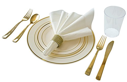 """"""" OCCASIONS """" Full set - Wedding Disposable Plastic Plates, plastic silverware, tumblers and white linen feel napkins w/ Imitation Rhinestone napkin rings (40 settings, Ivory and Gold)"""