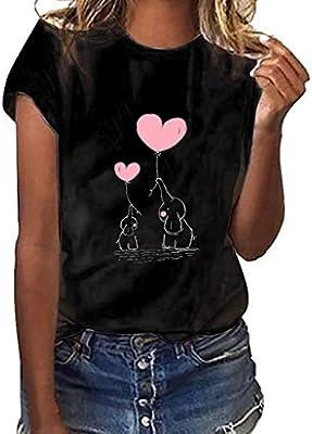 MINXINWY Camisetas de Mujer Tallas Grandes, Cute Impreso Camisetas ...
