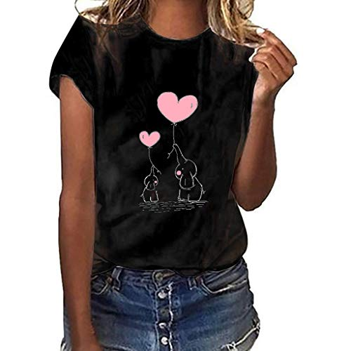 Blouses for Women Fashion 2019,Sharemen Women Baby Elephant Print Short-Sleeved T-Shirt Large Size Casual Ladies Tops(Black,S)