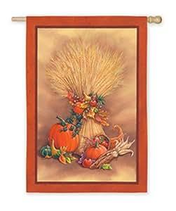 """43"""" Autumn Harvest Wheat, Cornucopia, Pumpkin, Fruit and Gourd Garden Flag"""