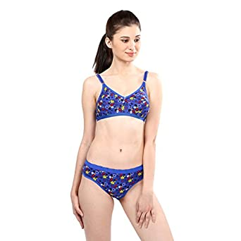 9b85c00ae4 Kivalo Flower Printed Royal Blue Printed Bra   Panty Set  Amazon.in   Clothing   Accessories