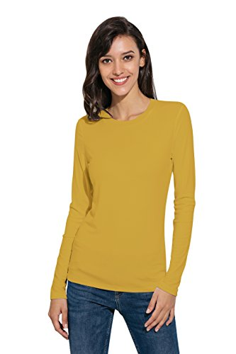 Women Basic Long Sleeve Crew Neck Comfy Layering Slim Fit Stretch Henley Tees Shirts Top Ginger Yellow