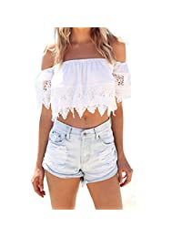 Lookatool Women's Boho Lace White Blouse Off Shoulder Crop Shirt Tops