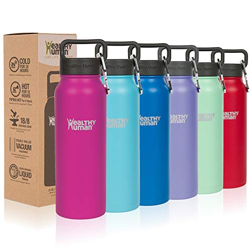 Healthy Human Classic Collection Stainless Steel Vacuum Insulated Water Bottle | Keeps Cold 24 Hours, Hot 12 Hours | Double Walled Water Bottle | 21 oz - Hot Water Cold