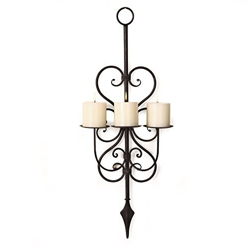 Adeco HD0011 Iron Vertical Wall Hanging Candle Holder Sconce, Old French Design, holds 3 Pillar Candles black with Antique Finish Black Wrought Iron Sconce