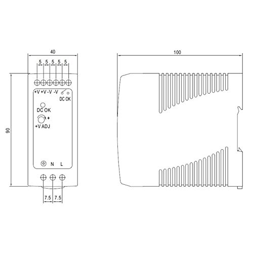 MDR-40-24 Din-Rail Fuente de alimentaci/ón 40,8W 24V 1,7A ; MeanWell