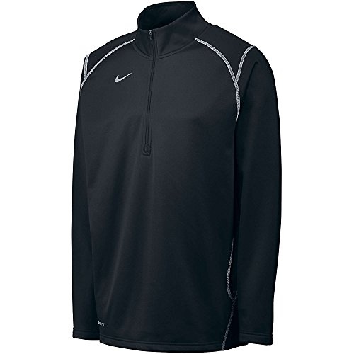 (Nike Men's Thermafit Quarter Zip Pullover Sweatshirt, Color Options (SML, Blk/Wht))
