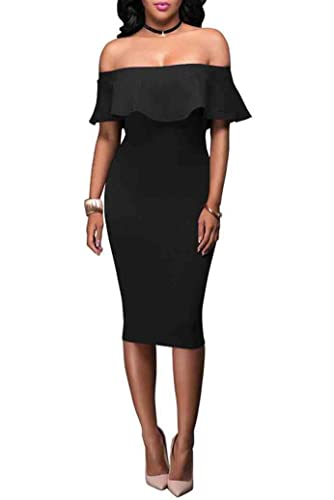 Evensleaves Women's Off the Shoulder Ruffles Slim Bodycon Evening Party Dress