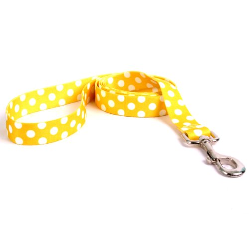 Yellow Dog Design Lemon Polka Dot Dog Leash 1