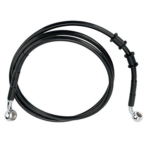 Hill Country Customs +2'' Over Stock Front Black Vinyl Coated Brake Line for 2008-2013 Harley-Davidson Dyna Super Glide Custom models - HC-401449 by Hill Country Custom Cycles (Image #1)