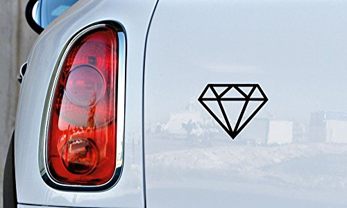 Diamond Clipart Version 1 Car Vinyl Sticker Decal Bumper Sticker for Auto Cars Trucks Windshield Custom Walls Windows Ipad Macbook Laptop and More (BLACK) 1 Clipart