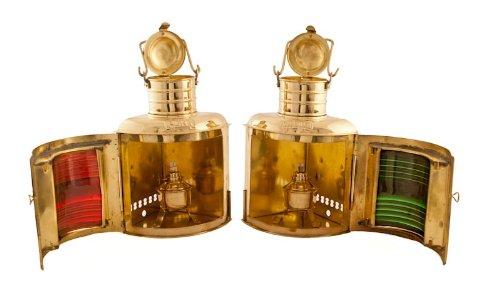 Vermont Lanterns Brass Port & Starboard Lamps - Nautical Decor (11'', Brass)