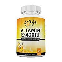 Vitamin E 400 iu Capsules for Skin, Hair and Heart Support D-Alpha Tocopheryl Acetate Supplement for Immune Support 50 Liquid Capsule by Amate Life Made in USA