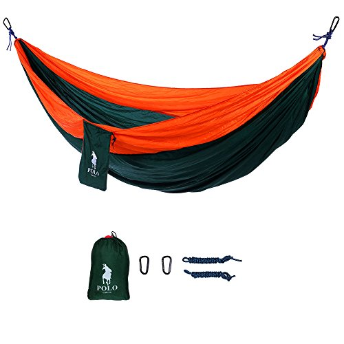 VIDENG POLO Double Parachute Hammock Portable for Camping Hiking Travel Beach Yard Lightweight Nylon Fabric - Green /Orange (Halloween 118)