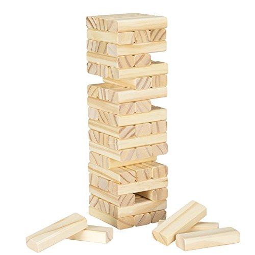 買取 54pc tabletop natural wood balance stacking game includes