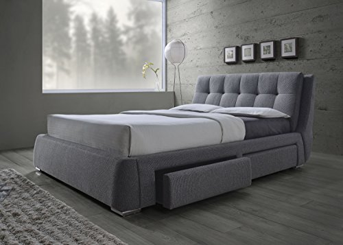 Coaster Home Furnishings 300523Q Upholstered Bed, Queen, Grey/Chrome Coaster Furniture Contemporary Bed