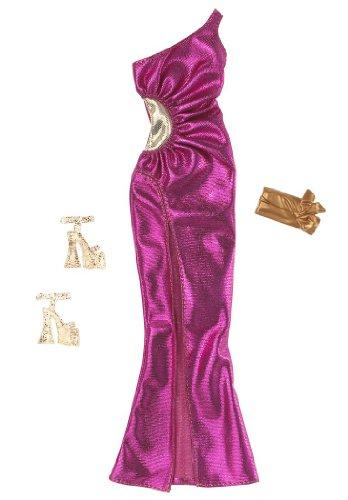 Barbie Fashionistas Glam Fuschia Shimmery Pink Evening Dress, Clutch and Platform Shoes