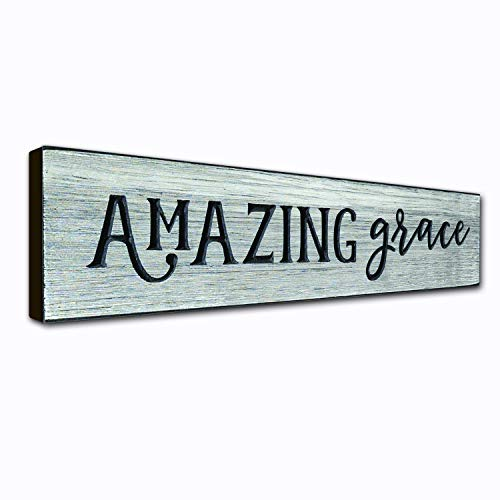 Amazing Grace Rustic Wall Art Decor Plaque - 16 x 3.5 Inches - Christian Quotes on Wooden Frame - Handcrafted in an Amish Community in USA From Real Pine Wood, Housewarming Gift Ideas - Weathered Gray ()