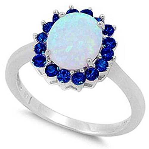 (Oxford Diamond Co Sterling Silver Lab Created White Opal & Simulated Blue Sapphire Ring Sizes 8)