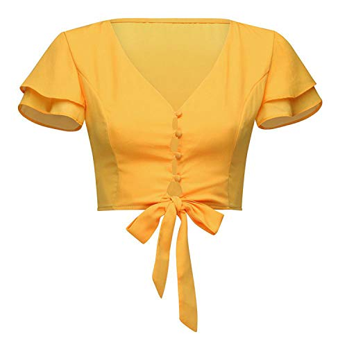 Women's Tops V-Neck Sexy Navel Solid Color Short Tank top Women Official Bandage Button Summer Shirt#G6,Yellow,XL