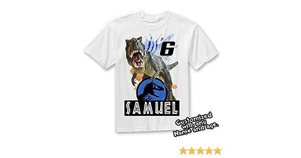 59dbb6f5 Amazon.com: Jurassic World Dinosaurs Custom T-shirt, Dinosaur Birthday Shirt:  Handmade