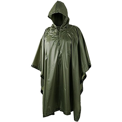 Helikon Military Ripstop Waterproof Poncho Rain Cover (Olive Drab) Military Raincoat