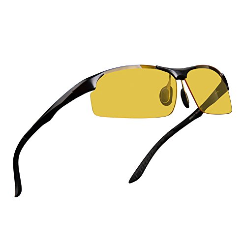 Mens Womens Night Vision Driving Polarized Sports Design Anti Glare Glasses with Yellow Lens for Outdoor Activities Sunglasses (BlackSports 1, - Night Day And Sunglasses