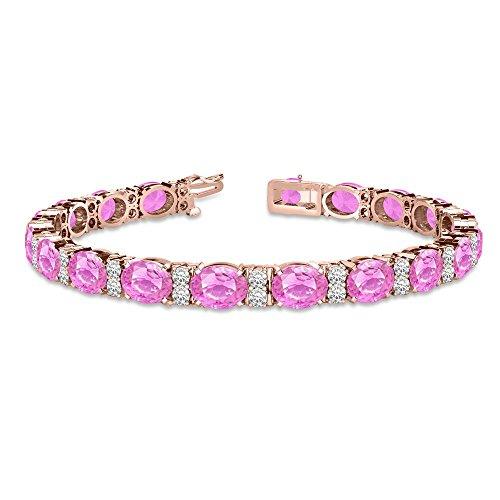 Diamond and Oval Cut Pink Sapphire Tennis Bracelet 14k Rose Gold (13.62ct)