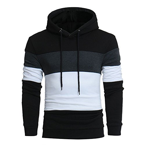 Realdo Men's Casual Sweatshirt Tops, Long Sleeve Elastic Hoodie Coat Outwear(Black,Medium) by Realdo