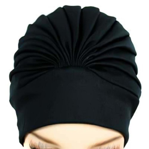 Polyester Latex Lined Pleated Women's Swim Bathing Turban - - For Caps Women Swim