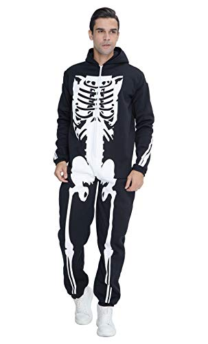 Couples Halloween Costumes Canada (Men's Skeleton Jumpsuit Halloween Costume with 3D Skull Printing SoftRomper Family Hoodie Sleepwear Cosplay Bone Fleece Jumpsuit Catsuit Onesie Zip Up One Piece Pajamas)