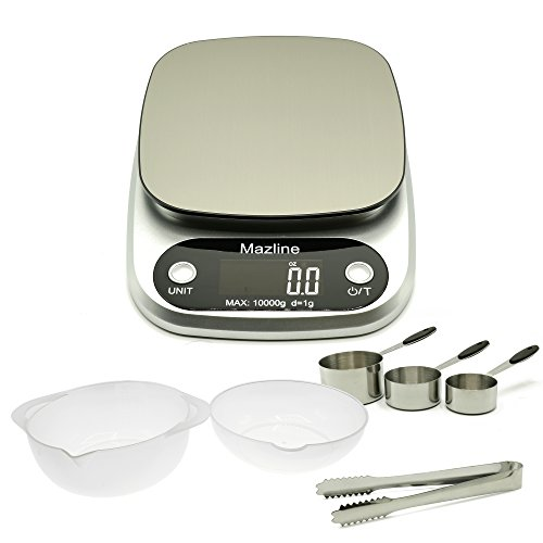 Digital Measuring Cup Scale - Digital Kitchen Scale by Mazline, Great Bundle Pack, Measuring Cups, Mixing Bowls and Tong - Digital Weight - Multifunction Food Scale with Accuracy (Batteries Included)