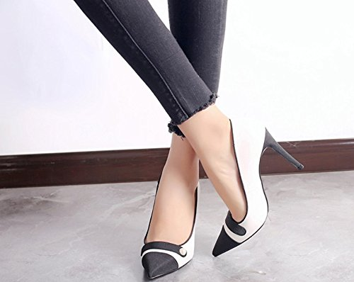Work Shoes 39 Heeled Heel Shoes Shoes Mouth Leisure Single Career Work Shoes Shallow Fine Lady High Elegant Grey Shoes Head Sexy Women'S Sharp 8Cm Single MDRW Spring 0FE7xf4