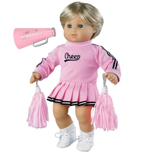 Sophia's 15 inch baby doll Clothing Cheerleader Outfit, 3 Pc. Set of Pink Cheerleader Dress, Pom Poms and Megaphone Fits Bitty Baby American Girl Baby Dolls,Pink Cheerleader Set