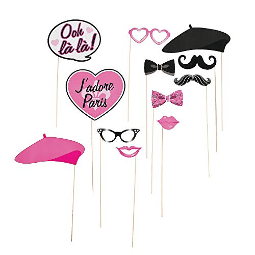 Fun Express - Paris Photo Stick Props for Birthday - Apparel Accessories - Costume Accessories - Costume Props - Birthday - 12 Pieces]()