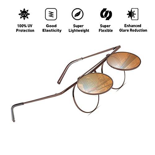 mujeres de UV400 reflectante polarizadas para sol hombres de Steampunk lente T7 Aviator ATNKE marco gafas con metal redondo Eyewear HD Protección p8AAF