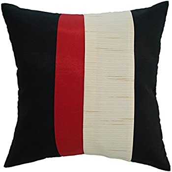 Avarada 16x16 Inch (40x40 cm) Striped Crepe Decorative Throw Pillow Case Cushion Cover for Sofa Couch Chair Bed Insert Not Included Zipper Black Red ...