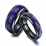 KAIYUFU Jewelers Amazing Her King His Queen Titanium Stainless Steel Moods Color-Changing Engagement Wedding Band Anniversary Couple Promise Ring Gifts Men Size 11.5 US