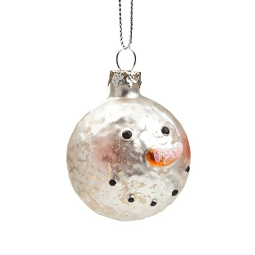 Small Mercury Glass Snowman Head Ornament Set/4 (Mercury Glass Snowman Ornament)