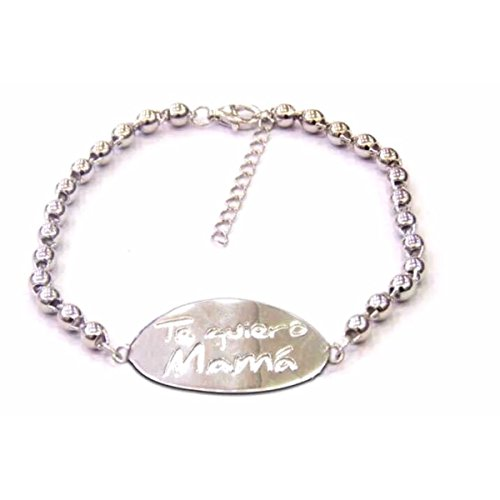 (Global Huntress Sterling Silver S925 TE Quiero Mama - I Love You Mom in Spanish Beaded Bracelet (Gift Boxed))