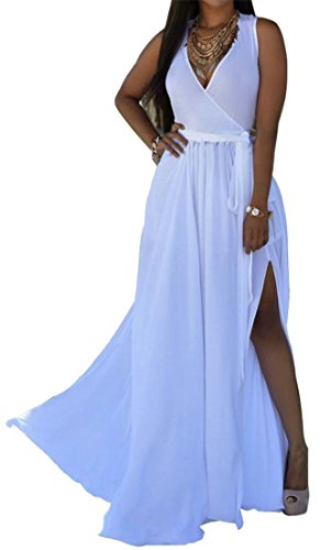 Tank Summer Maxi Dress Swing White Slit Cross Neck Beach Cruiize High V Womens qBCqwOZ