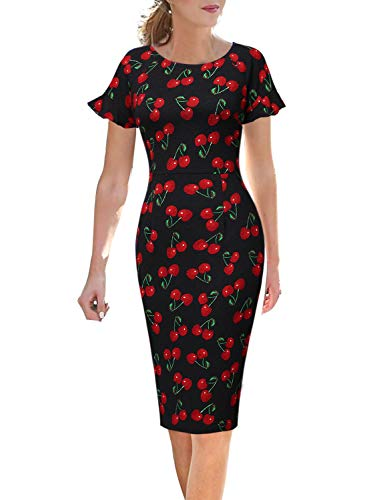 VFSHOW Elegant Ruffle Flutter Sleeve Work Business Office Sheath Dress 1563 RED XL - Cherry Ruffle