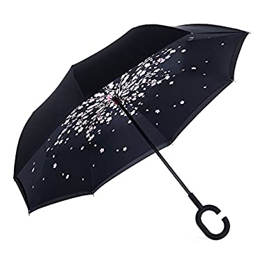 NewSight Reverse/Inverted Double-Layer Waterproof Straight Umbrella, Self-Standing & C-Shape Handle & Carrying Bag for Free Hands, Inside-Out Folding for Car Use (Sakura)