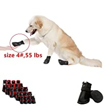 """Namsan Dog Shoes for Large Dogs,Waterproof and Anti Skid&Snow Dog Winter Boots For Large Dog Black #6- 2.9""""x2.5""""(LxW)"""