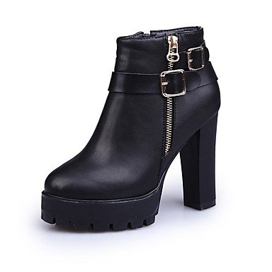 Boots Dress Black CN38 Comfort Casual EU38 RTRY Mid Women'S Calf Fashion Block UK5 5 Red Toe Pu Fall Zipper 5 Heel For Pointed US7 Boots Shoes Boots xFUFqRI6w