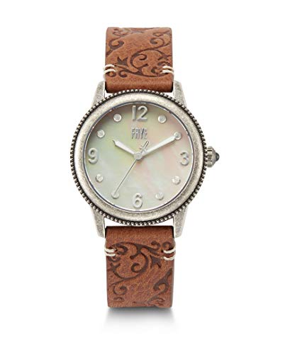 FRYE Women's Sabrina Stainless Steel Japanese Quartz Leather Strap, Brown, 18 Casual Watch (Model: 37212452SLV049)