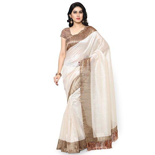 Rajnandini Women's Tussar Silk Plain Saree(JOPLNB3002_Off White_Free Size) (White Silk Saree)