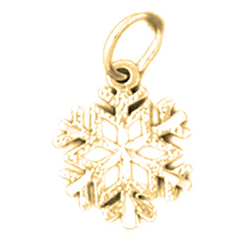 Jewels Obsession Snowflake Charm Pendant | 14K Yellow Gold Snowflake Pendant - 16 mm ()