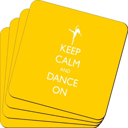 Rikki Knight Keep Calm and Dance on Yellow Color Design Soft Square Beer Coasters (Set of 2), Multicolor